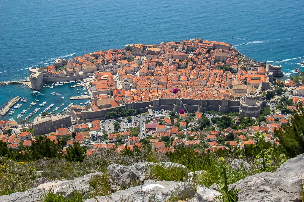 Perfect view of Dubrovnik Old Town and Adriatic Sea from Mount Srd