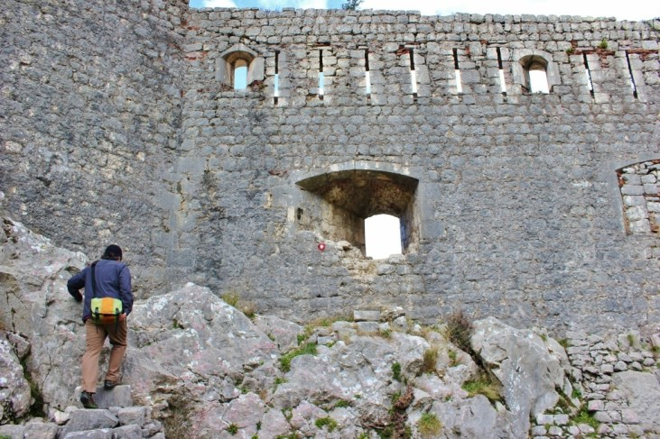 Hole in wall to secret church, Kotor, Montenegro