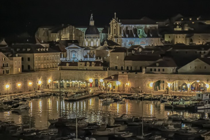 Night view of Old Port and Walled City in Dubrovnik, Croatia
