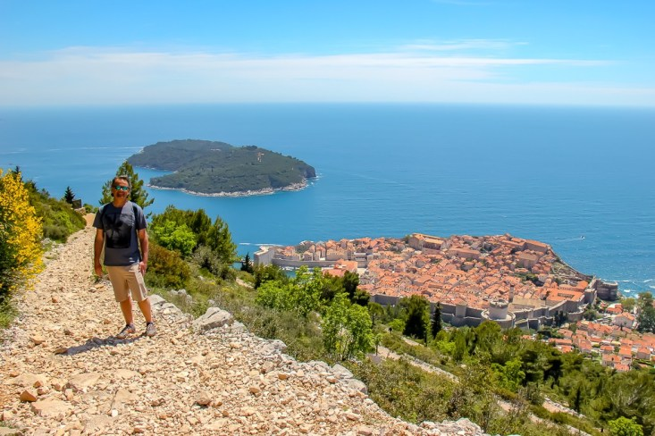 Switchback trail on Mount Srd with Adriatic Sea Views in Dubrovnik, Croatia