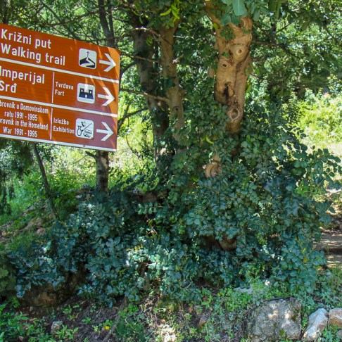 Sign at trailhead from Old Town Dubrovnik to Mt. Srd in Croatia