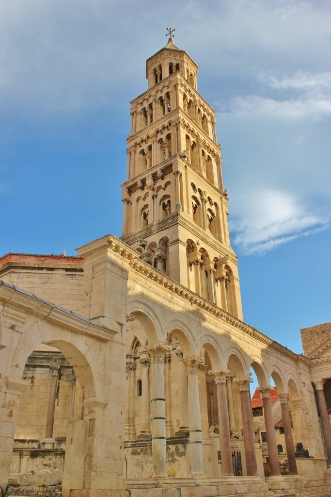 Split Bell Tower on Peristil in Diocletian's Palace in Split, Croatia
