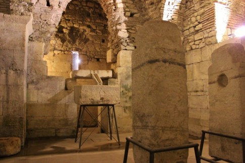 Ancient Olive press in Diocletian's Palace Basement in Split, Croatia