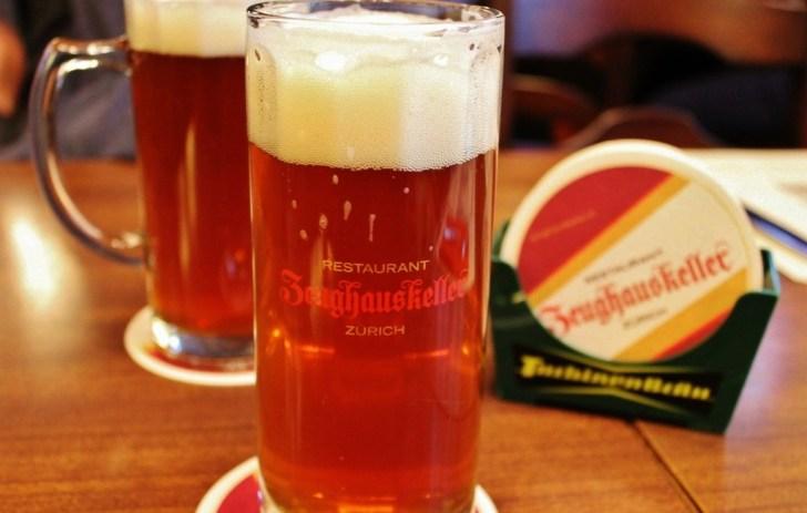 Pints of beer at Zeughauskeller Beer Hall, Zurich, Switzerland JetSettingFools.com