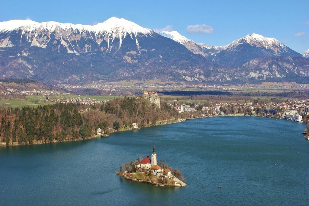 Highest view of Lake Bled Slovenia
