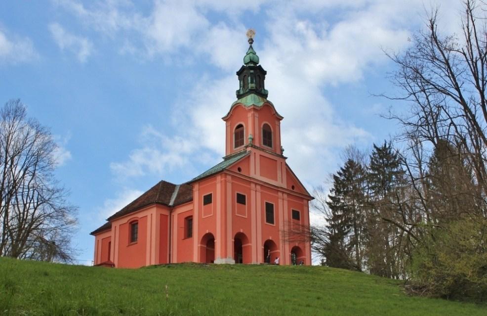 Pink church on Roznik Hill in Ljubljana, Slovenia