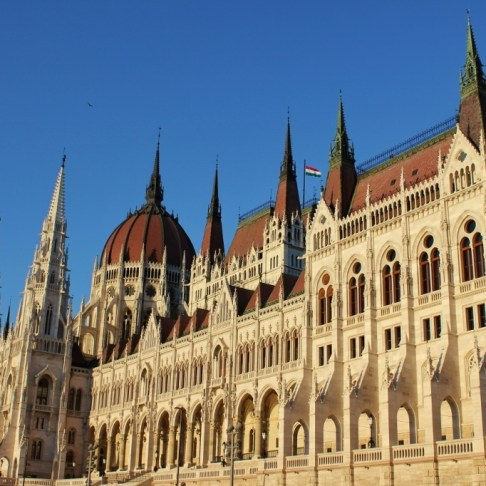 Riverside view of Parliament in Budapest, Hungary