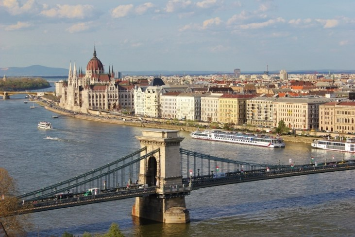 The view of Chain Bridge and Parliament from Castle Hill in Budapest, Hungary