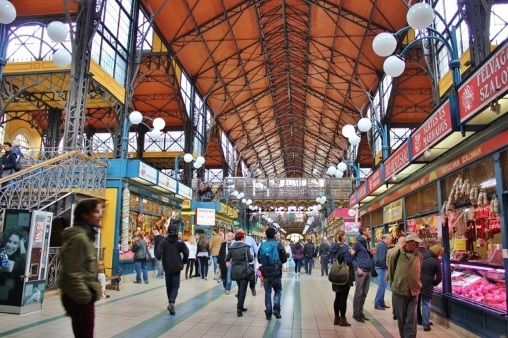 The vast Great Market Hall, Budapest, Hungary