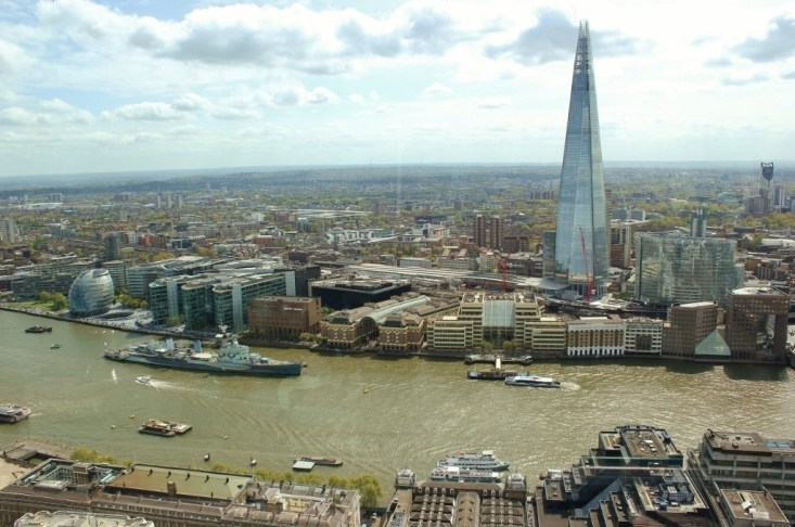 View of the Shard and London from the open air viewing deck at the Sky Garden.