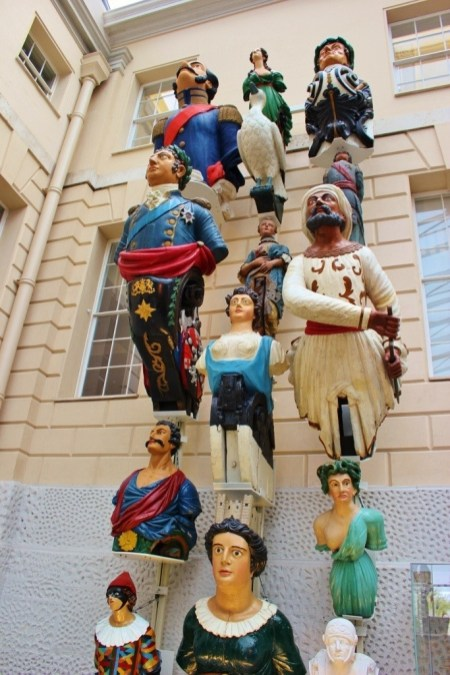 A day in Greenwich, London: Figureheads displayed at the National Maritime Museum