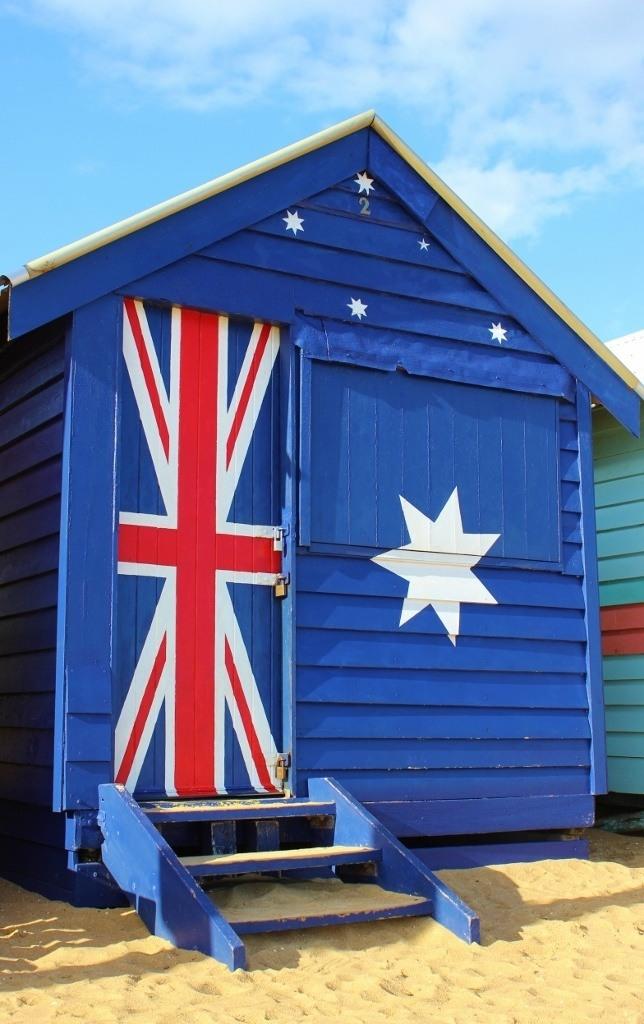 Brighton Beach Bathing Boxes: A popular box is painted like the Australian flag.