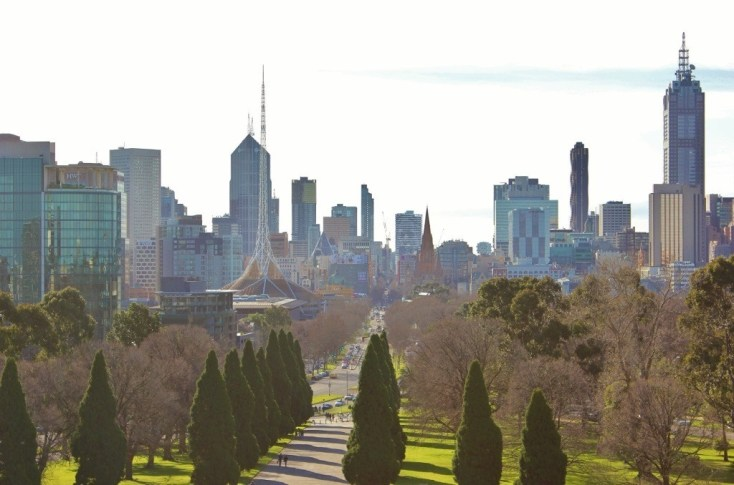 View of Melbourne's skyline from the rooftop of the Shrine of Remembrance
