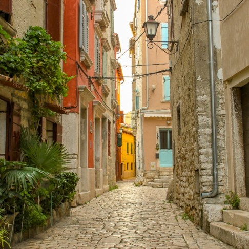 Picturesque lane in Old Town Rovinj, Croatia