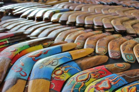 Boomerangs are one of the many tourist souvenirs on sale at the Queen Victoria Market
