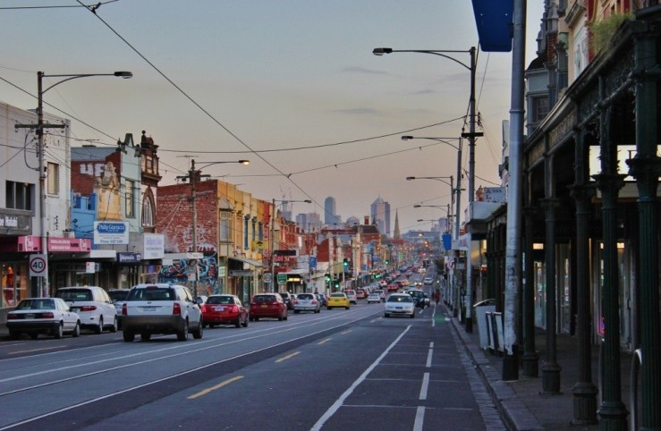 A view south to the city on our Sydney Road pub crawl in Brunswick