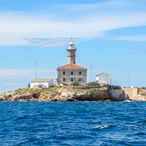 Lighthouse on island in Rovinj Archipelago in Croatia