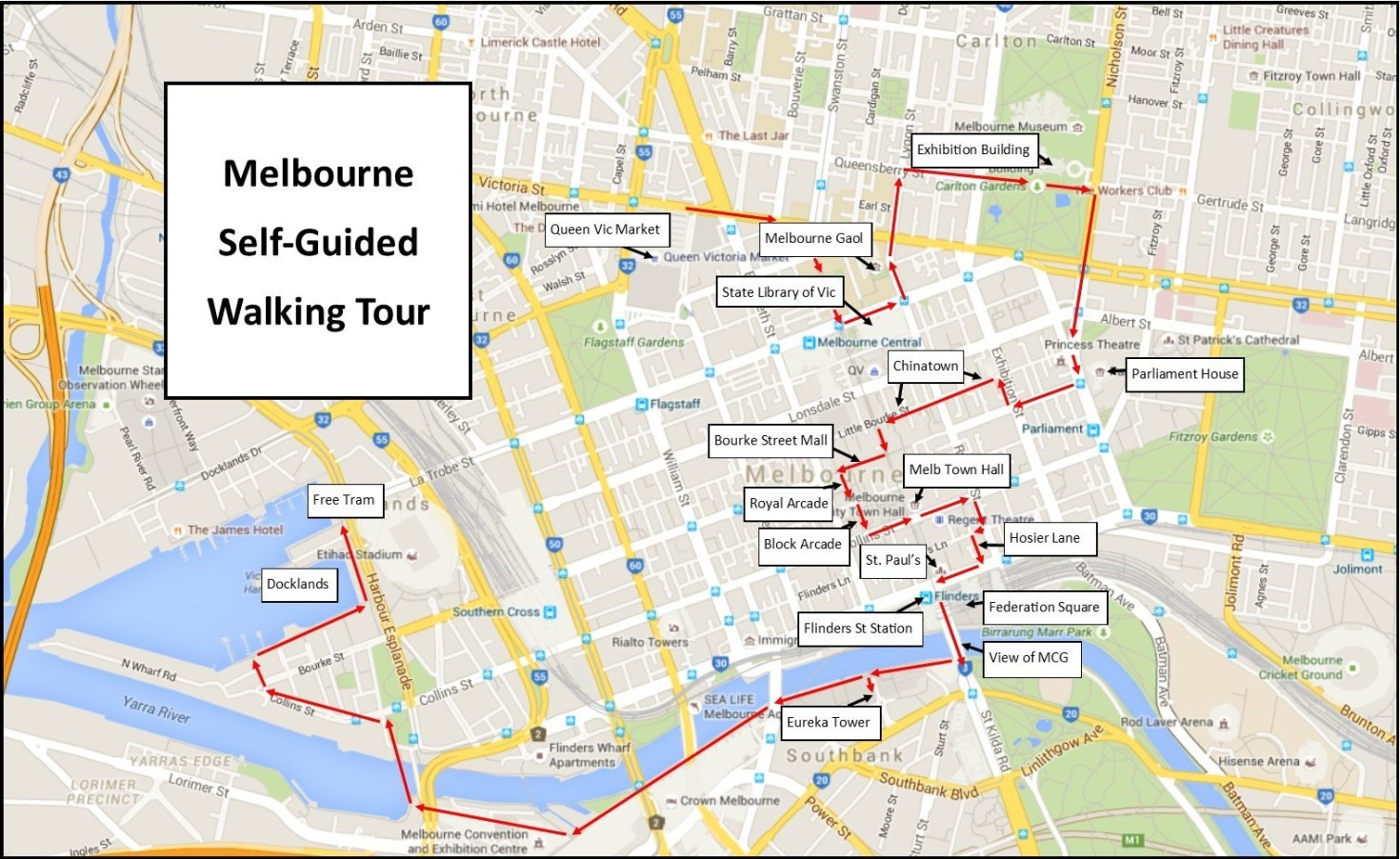 Self-guided walking tour of Melbourne Map
