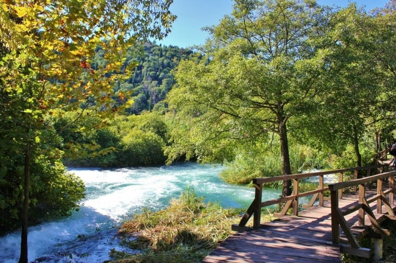 Wooden paths over waterfalls at Krka National Park