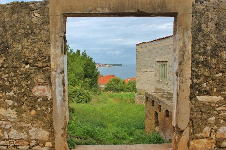 Looking through a window to sea in Kali on Ugljan, Croatia