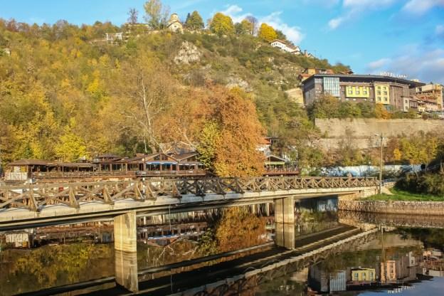 River views and wooden bridge in Sarajevo, BIH