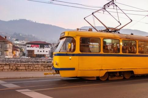 Tram rattles through Sarajevo, BIH