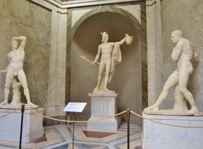 Statues at Vatican Museums in Rome, Italy