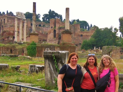 Roman ruins of columns and temples in Roman Forum in Rome, Italy