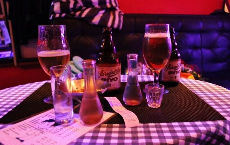Beer and Rakija in Sarajevo, Bosnia and Herzegovina