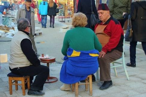 Locals drink Bosnian Kafa in Sarajevo Old Town