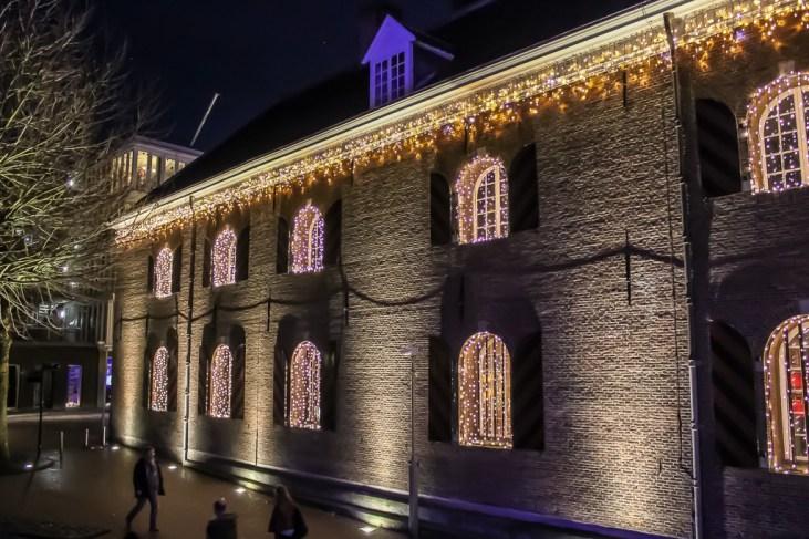 Christmas lights illuminated on building in Nijmegen, Netherlands