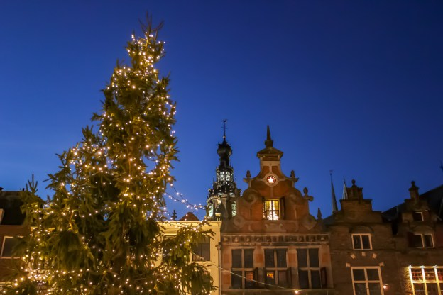 Christmas Market in Market Square in Nijmegen, Netherlands
