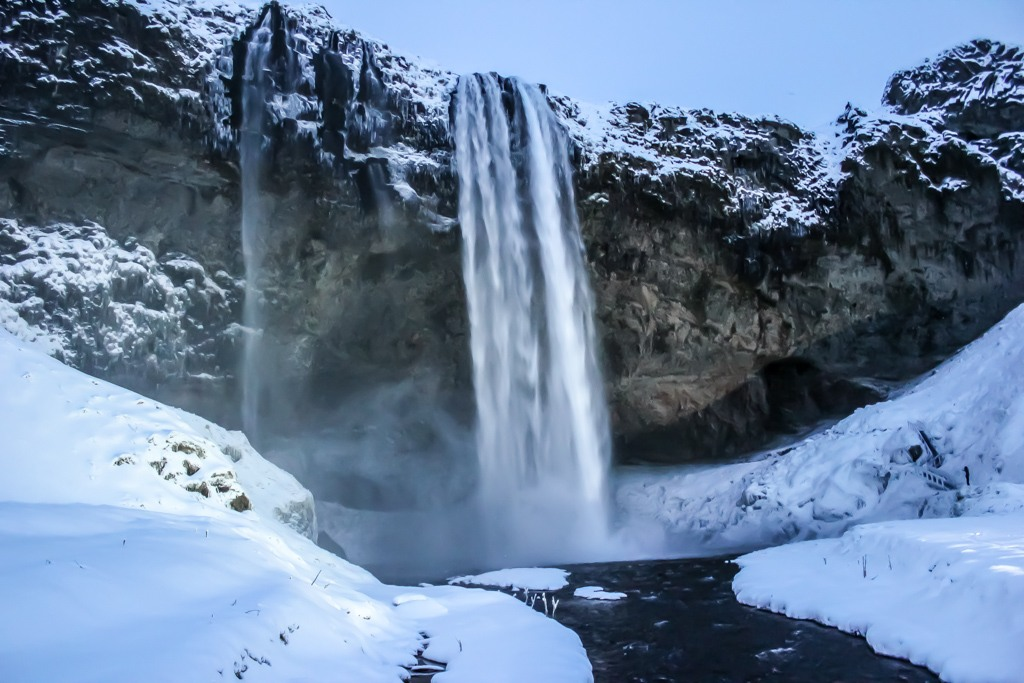 Seljalandsfoss Waterfall in winter, Iceland