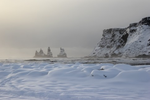 Wintertime, Black Sand Beaches at Vik,, Iceland