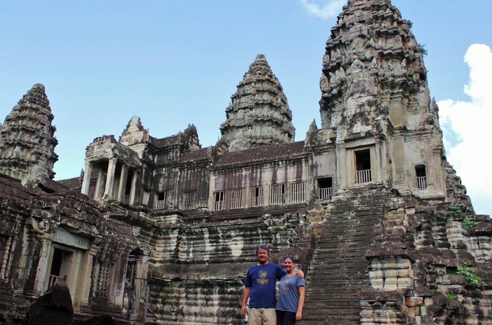 JetSetting Fools Sarah and Kris touring Angkor Wat, Cambodia