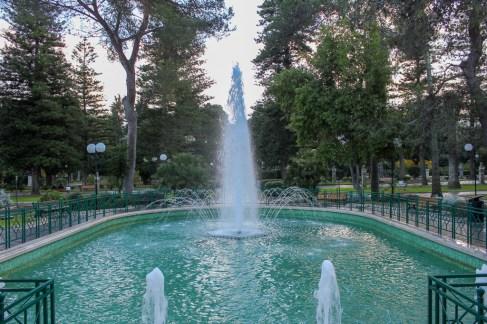 Fountain at Giuseppe Garibalidi Villa Comunale Park in Lecce, Italy