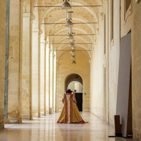 Displayed gown in arcades in Lecce, Italy