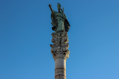 Patron Saint Oronzo statue on ancient column in Lecce, Italy