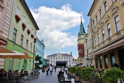 Entrance into Krekov trg, Krek Square, Celje, Slovenia