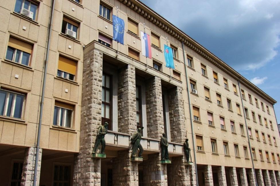 Nova Gorica, Slovenia entrance to Town Hall Building