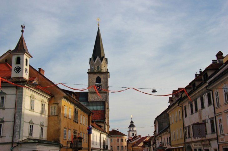 Bell tower of Parish Church of St. Cantianus, Kranj, Slovenia