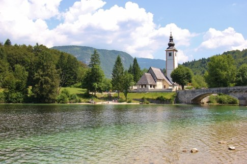 St. John the Baptist Church and bell tower on Lake Bohinj, Slovenia