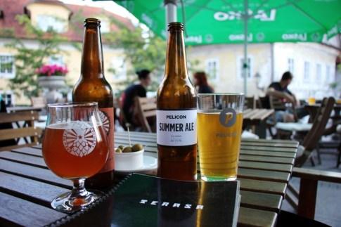 Local craft beer at Terasa Go Lokal Cafe, Kranj, Slovenia