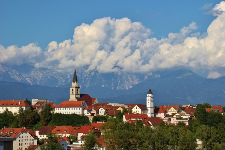 View of Kamnik-Savinja Alps and Kranj, Slovenia with clouds