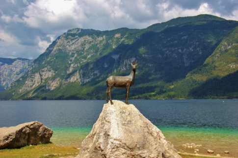 Goldenhorn Zlatorog Statue on south side of Lake Bohinj, Slovenia