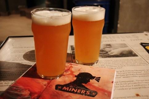 Beers at Miners Pub craft beer bar in Belgrade, Serbia