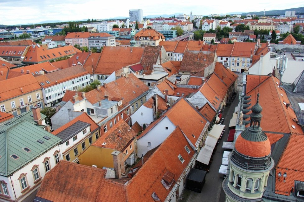 Rooftop and city views from Watch Tower Steeple in Maribor, Slovenia