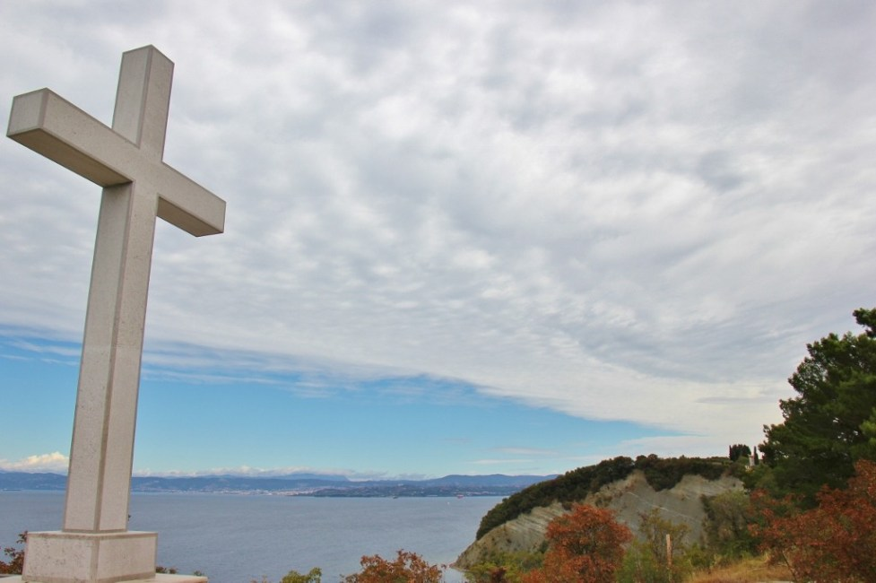 White marble Cross of Strunjan on Strunjan Nature Reserve in Slovenia