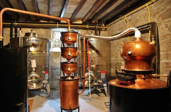 Copper distillery equipment at Aura Distillery in Buzet, Istria, Croatia
