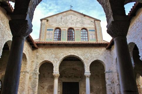 Front of Euphrasian Basilica, Porec, Istria, Croatia
